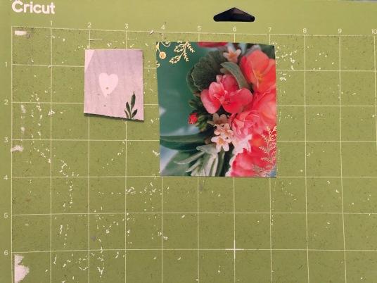 Card pieces on Cricut mat